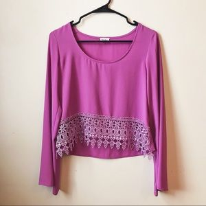 Tobi Purple Crochet Drop Lace Crop Top Blouse